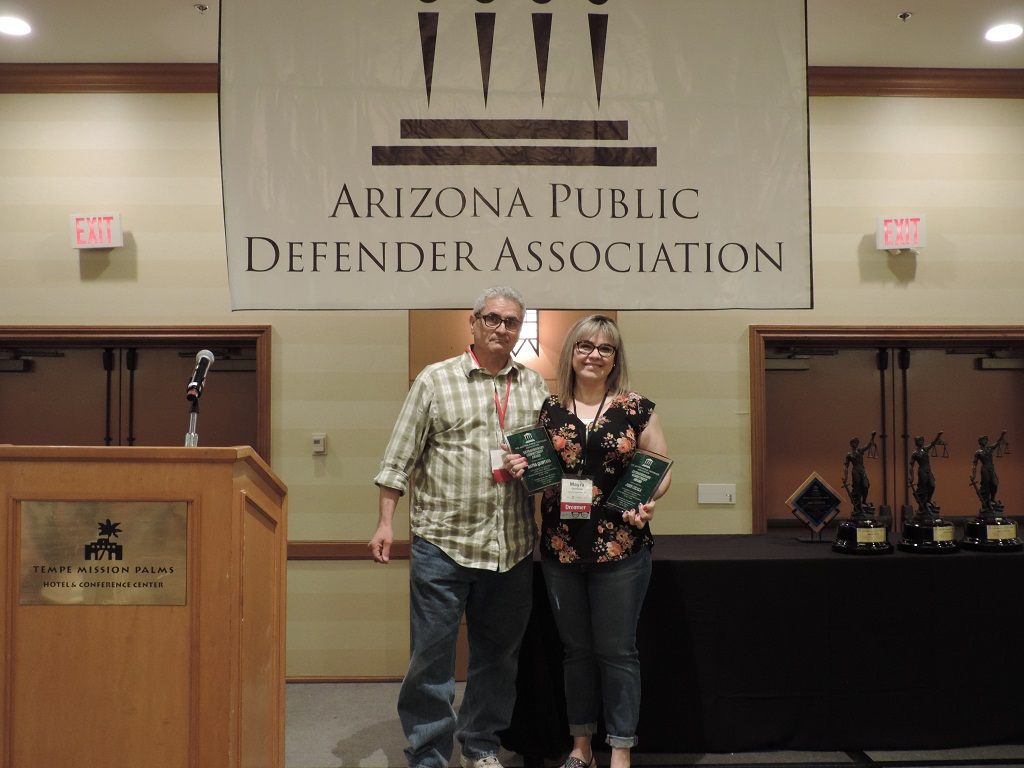 Special Recognition - Legal Secretary Mayra Quintana and Attorney John Cicala (missing), Yuma County Public Defender
